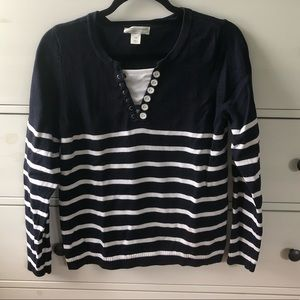 Christopher & Banks Navy Striped Sweater